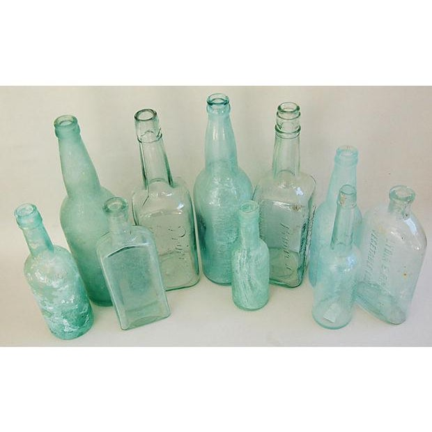 Antique Teal & Blue Glass Bottles - Set of 10 - Image 3 of 8