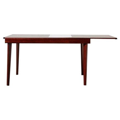 Mid-Century Rosewood Table With White Leaf - Image 1 of 8