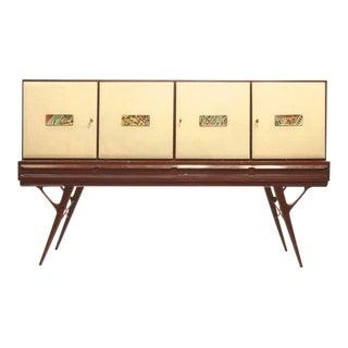 1960s Elegant Italian Vintage Parchment and Majolica Cabinet/Credenza