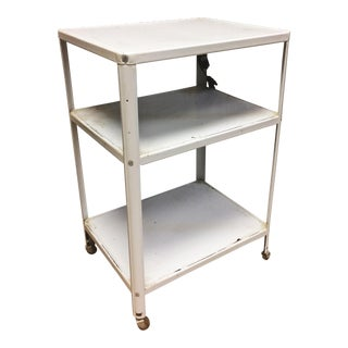 Mid Century Modern White Cosco 3 Tier Cart with Electric