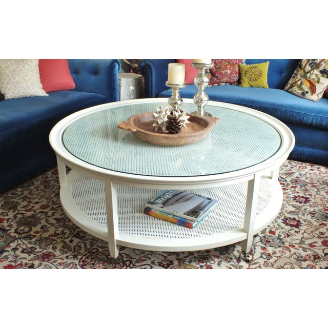 Mid-Century Round White Caned Coffee Table - Image 2 of 11