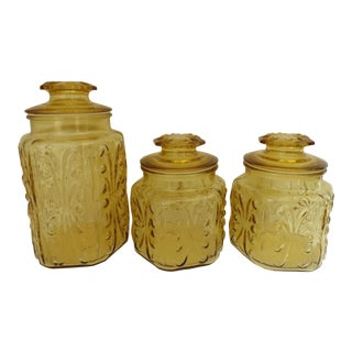 Amber Glass Kitchen Canisters - S/3