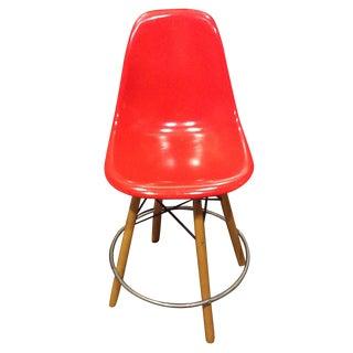 Modernica Red Fiberglass Dowel Swivel Bar Stool