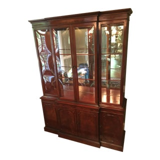 Flamed Mahogany Bubble Glass China Cabinet