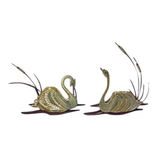 Homco Brass & Copper Swans and Cattails Wall Art - A Pair