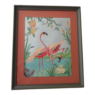 Vintage Mid 20th C. Hand Finished Silkscreen-Flamingos-Framed