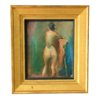 Framed Female Nude Oil Painting