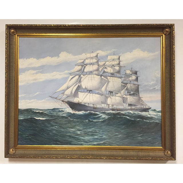 Wendell F. Collum Large Ship Painting - Image 2 of 9