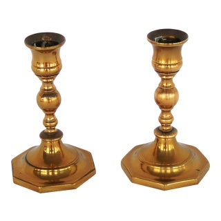 Vintage Brass Hexagonal Candlestick - A Pair