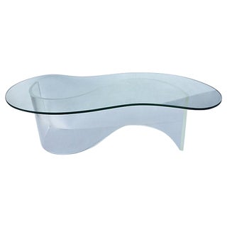 Lucite & Glass Bean Coffee Table