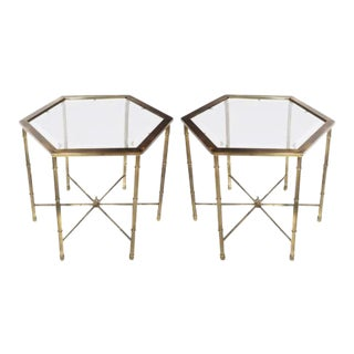 Brass Faux Bamboo Hexagonal Tables by Mastercraft - A Pair