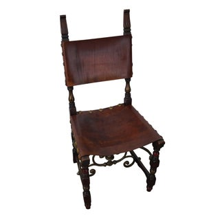 Antique Spanish Revival Walnut & Leather Iron Stretcher Side Chair