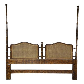 HENREDON Asian Campaign Style Faux Bamboo King Size High Poster Headboard