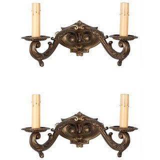Pair French Double Arm Two Light Bronze Wall Sconces