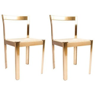 Italian Corded Brass Chairs- A Pair