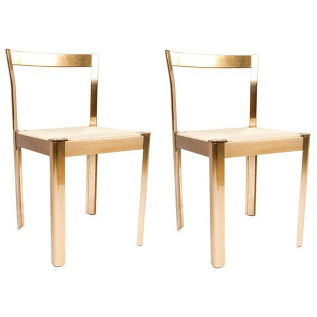 Image of Italian Corded Brass Chairs- A Pair