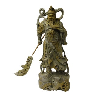 Chinese Gray Brown Color Standing General Guan Kwan Kong Statue