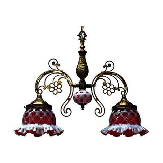 2-Light Cranberry Glass Chandelier