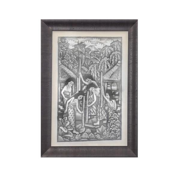 Image of 1930s Pre-War Balinese Ink Wash Drawings - A Pair
