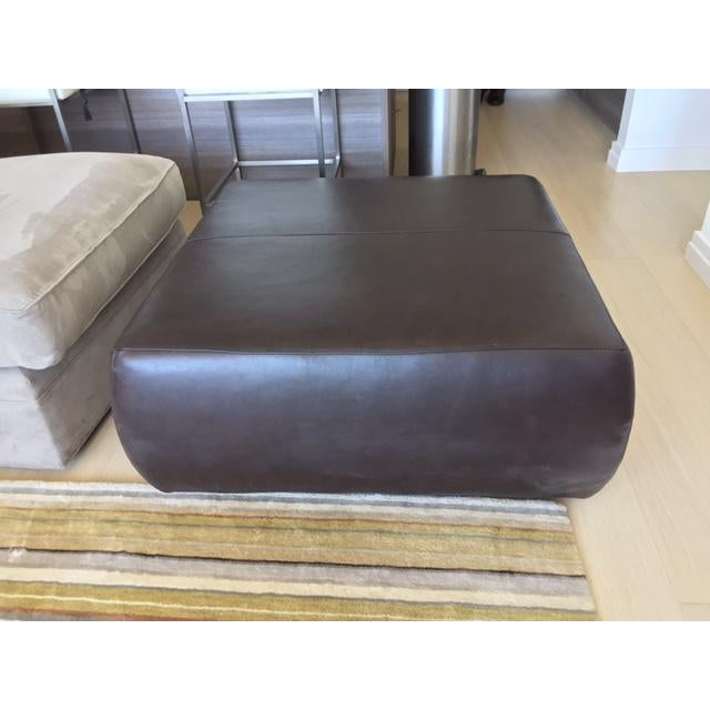 Room & Board Brown Leather Ottoman - Image 2 of 4