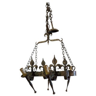 Country French Four Light Hand-Forged Iron Fleur de Lis Chandelier