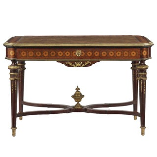 Louis XVI Style Marquetry Inlaid Bronze Writing Desk