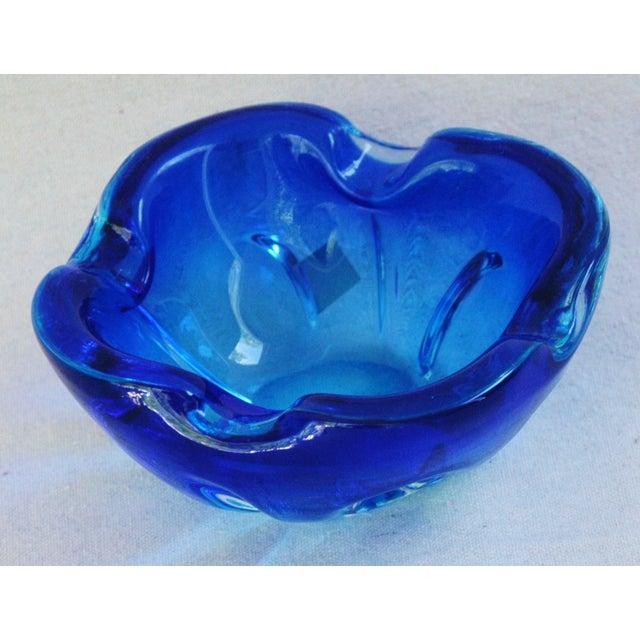 Mid-Century Azure Blue Murano Art Glass Dish - Image 3 of 8