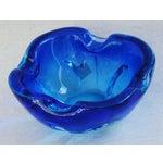 Image of Mid-Century Azure Blue Murano Art Glass Dish
