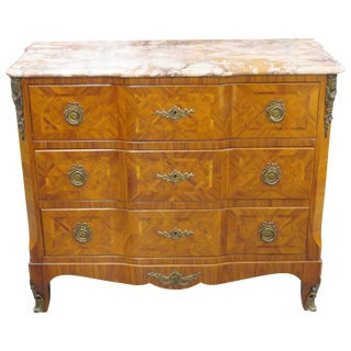 Louis XV Style Parquetry Marbletop Commode
