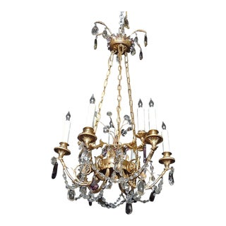 Mid 20th C French Bronze Doré and Crystal Chandelier, attributed to M. Jensen