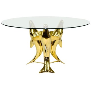 Brass Dolphin Base Coffee or Side Table