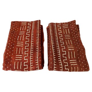 Chocolate Brown Mud-Cloth Textiles S/2