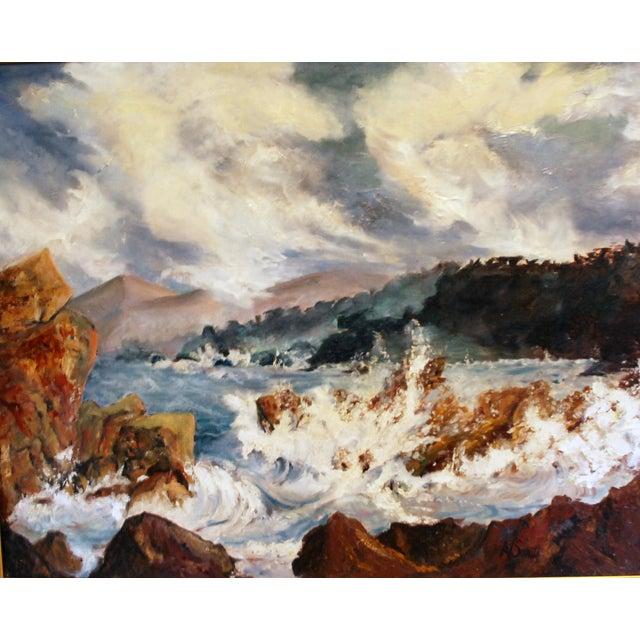 Mid Century Impressionist Ocean Oil Painting - Image 3 of 5