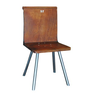 Vintage Wood Theater Chair