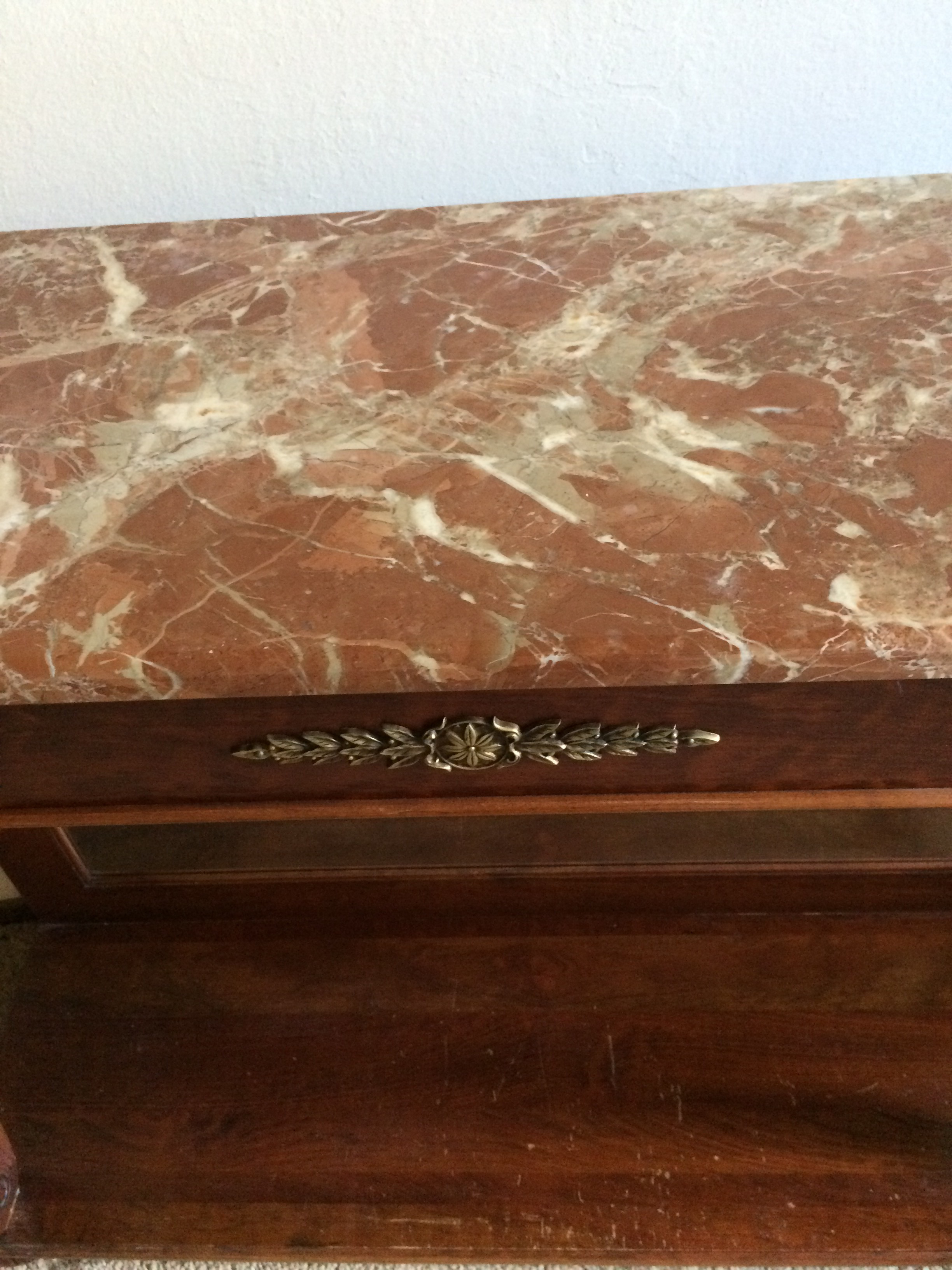 ethan allen marble top & mirrored console table | chairish