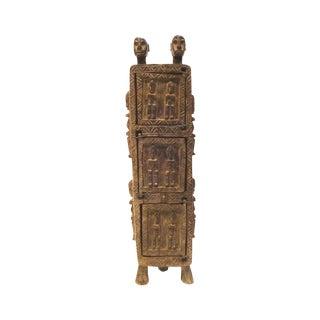 Vintage Dogon Carved Wood Tobacco Leaf Box