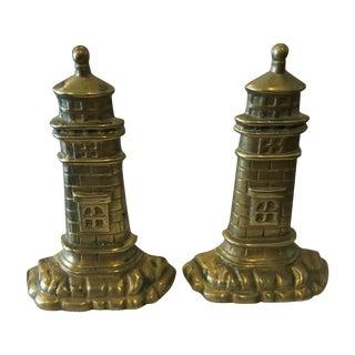 Brass Lighthouse Bookends - A Pair