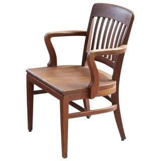 1920s Solid Oak Office Armchair by W.H. Gunlocke Chair Co