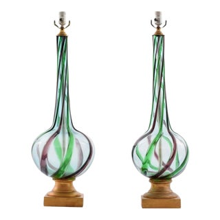 Monumental Pair of Italian Glass Lamps by Archimede Seguso, 1960s Italy