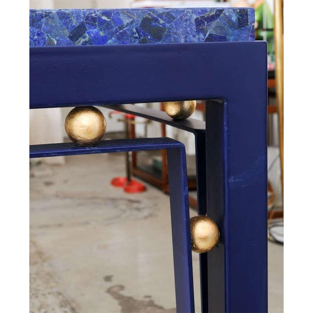 Important Iron Library Table with Lapis Lazuli Top in the Manner of Royere - Image 2 of 8
