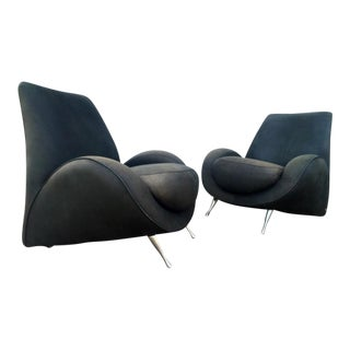 American Leather Distressed Modern Lounge Chairs - A Pair