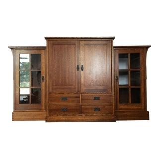 Mission Style Oak 3-Piece Cabinet