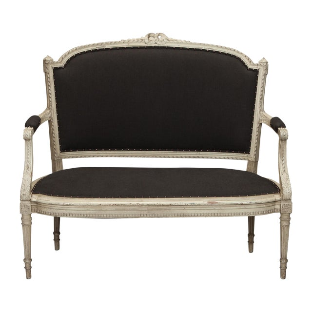 French Cream Painted Settee, Dark Gray Upholstery - Image 1 of 7
