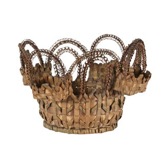 PASSAMAQUODDY (MAINE) NATIVE AMERICAN SEWING BASKET WITH ETRAORDINARILY EXHUBERANT DESIGN, DATED 1891 WITH A PENCILED INSCRIPTION