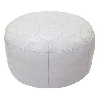 Moroccan White on White Leather Pouf