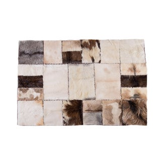 "Handmade Cowhide & Goatskin Patchwork Area Rug Rectangle White Gray Beige 6'6""x4'7"""