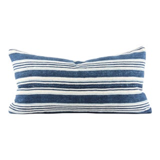Blue Stripes African Mudcloth Small Lumbar Pillow