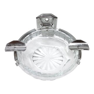 Deco Hotel Glass & Stainless Ashtray