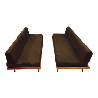 Vintage Mid Century Modern Brown Tweed Sofas - a Pair