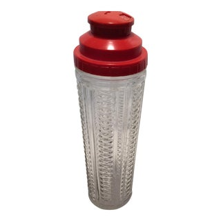 Large Mid-Century Glass Recipe Cocktail Shaker